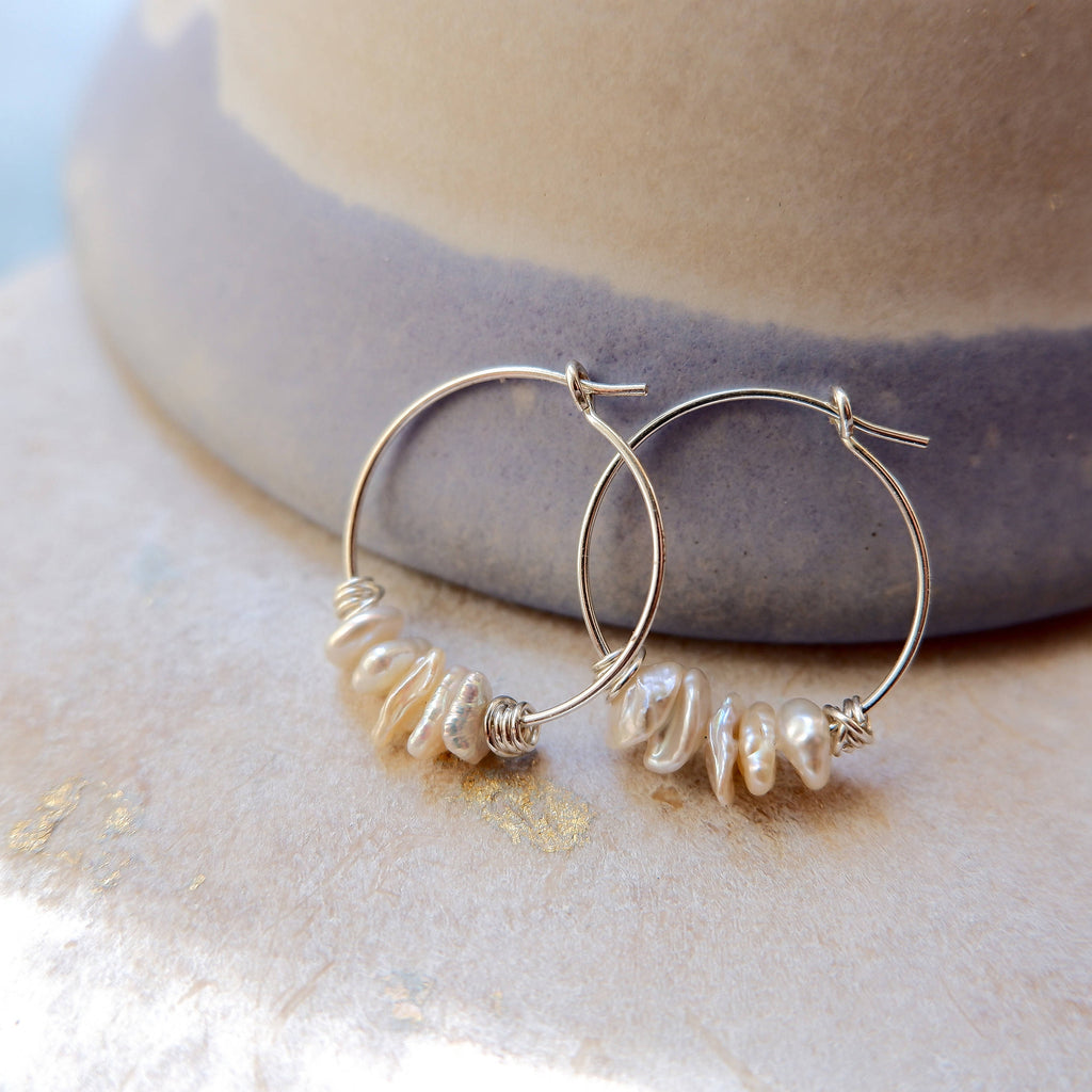 Keshi Pearl Hoop Earrings