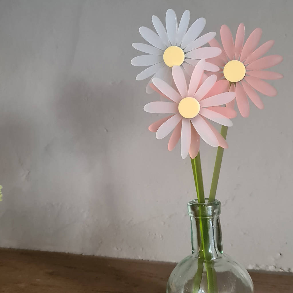 Frosted Acrylic Double Layer Flower - Single Stem