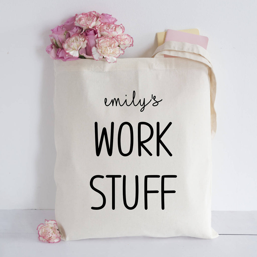 personalised work stuff tote bag