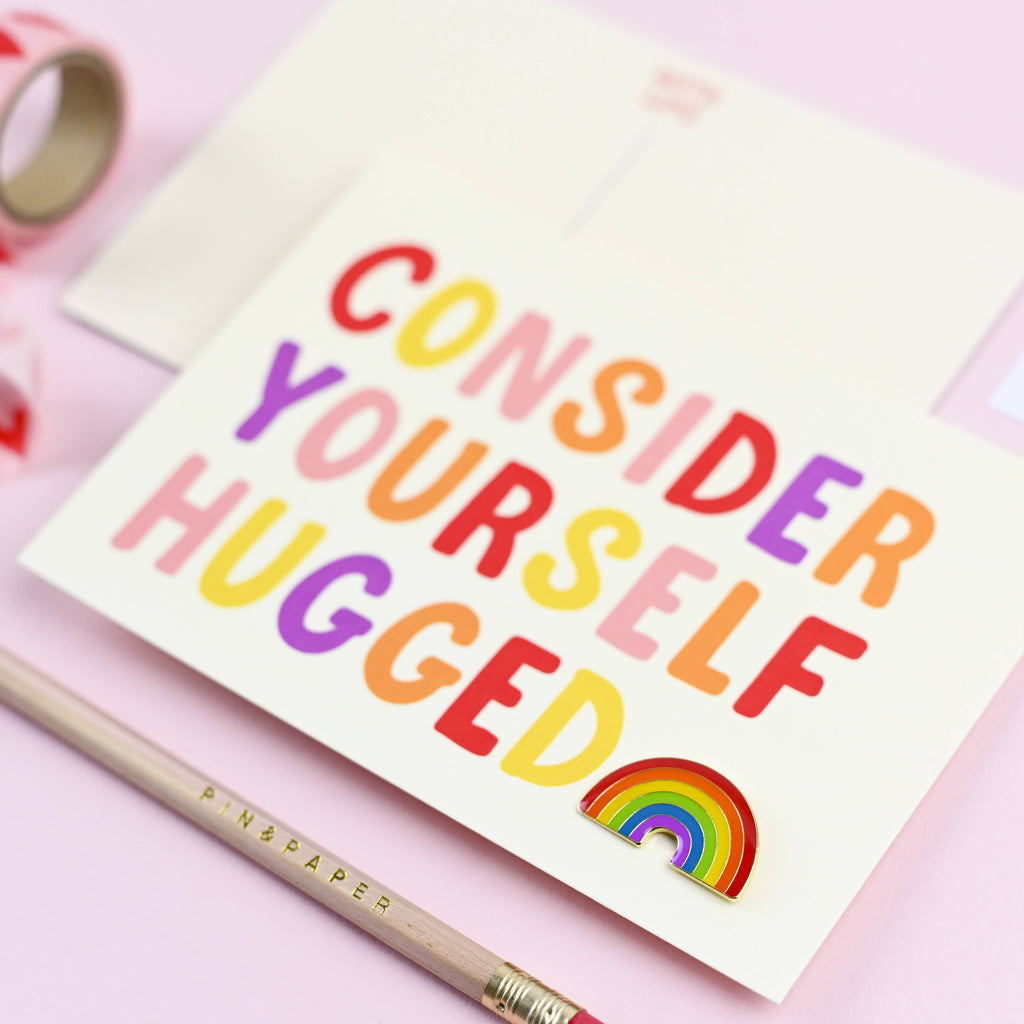 Consider Yourself Hugged Postcard & Rainbow Badge
