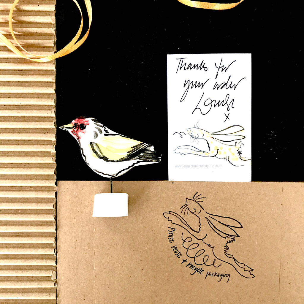 Louise Crookenden-Johnson, Goldfinch Pottery Ornament and Sustainable Packaging