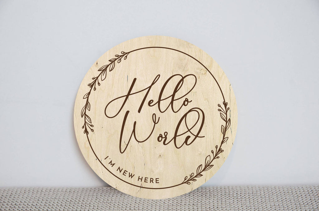 Hello world Newborn Baby announcement disc