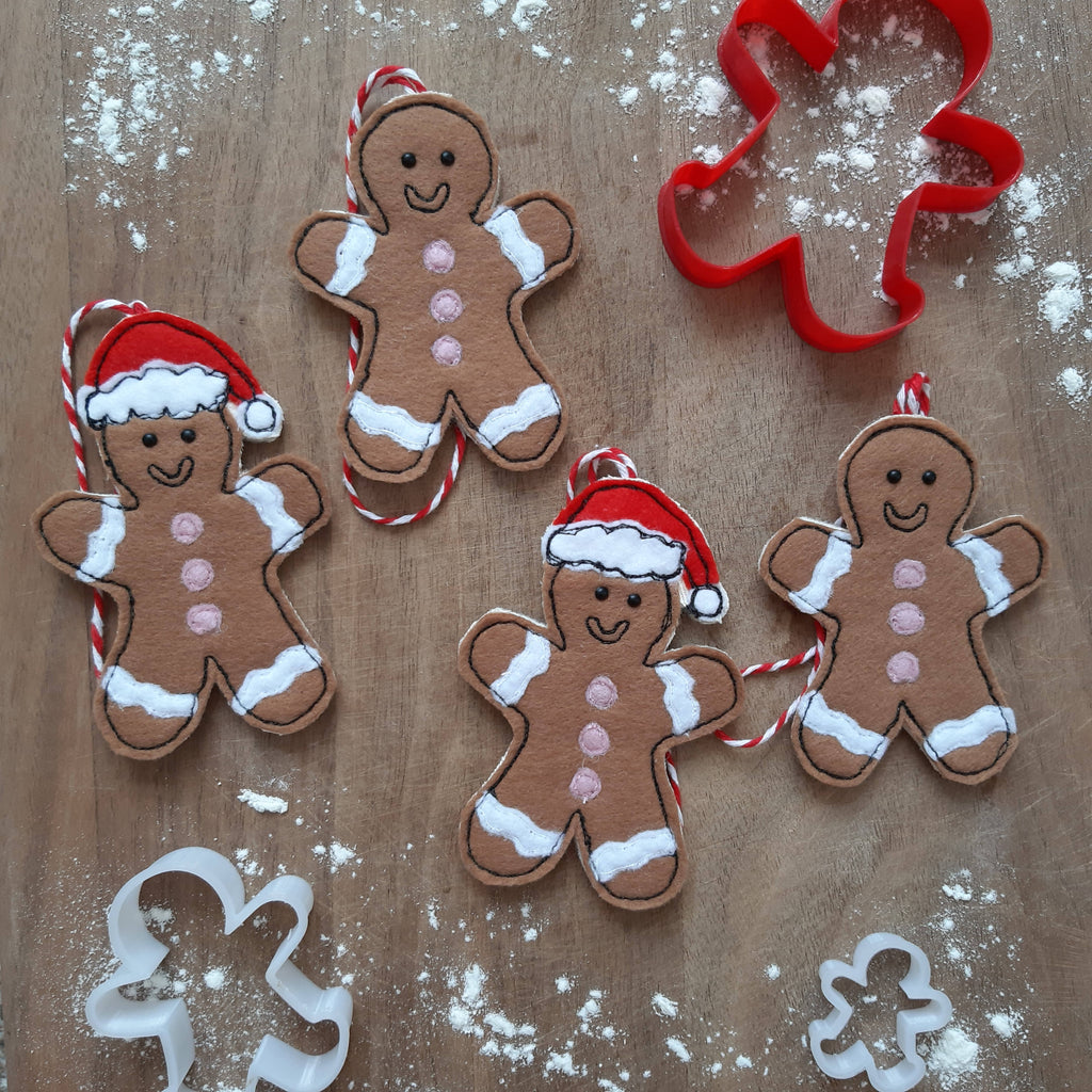 Free Motion Gingerbread Man Christmas Brooch, Santa Gingerbread Christmas Felt Free Motion Brooch, 5cmX6.5cm