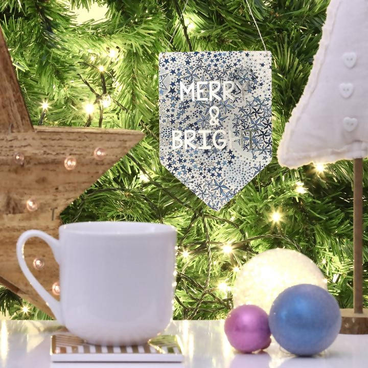 Merry and Bright Liberty Print Silver Metallic Banner