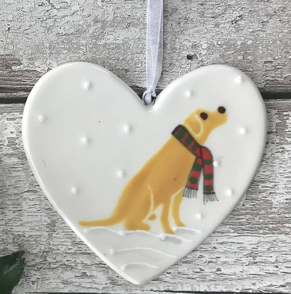 Golden Labrador Wearing A Red And Green Striped Scarf Sitting Down In The Snow Hand Painted Christmas Ceramic Heart