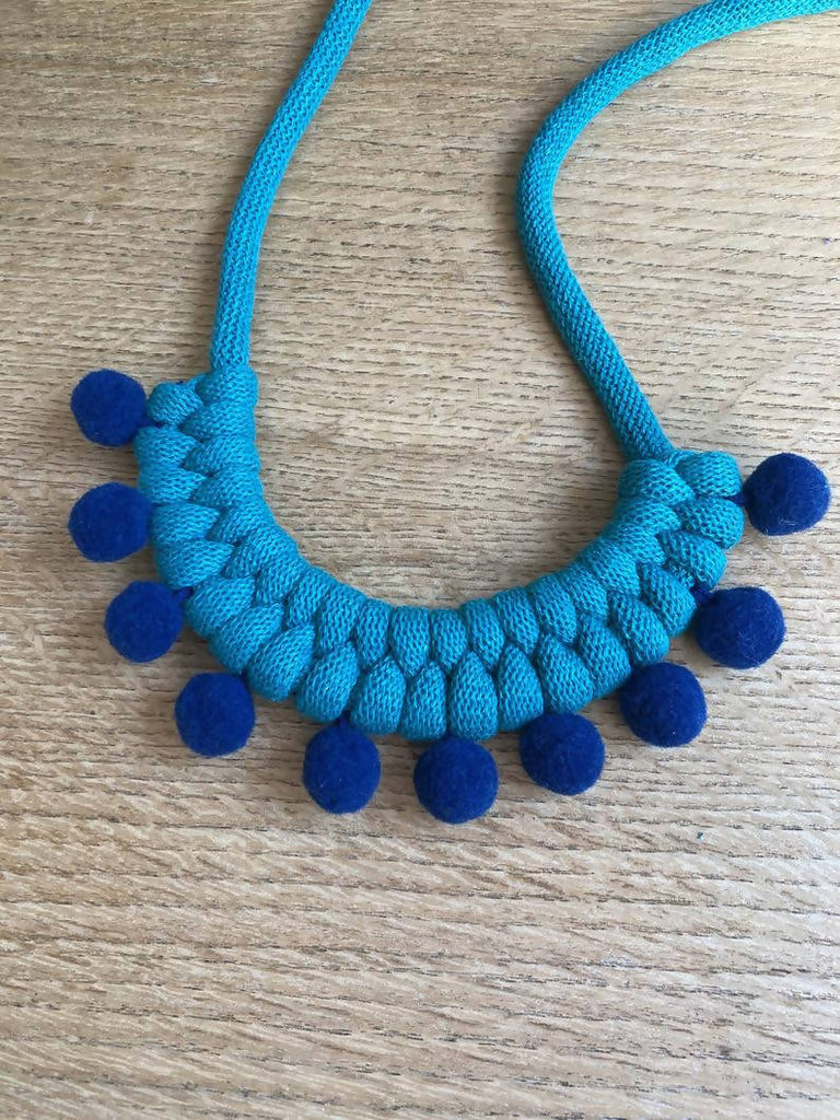 Bright Teal and Navy Pom Pom Necklace