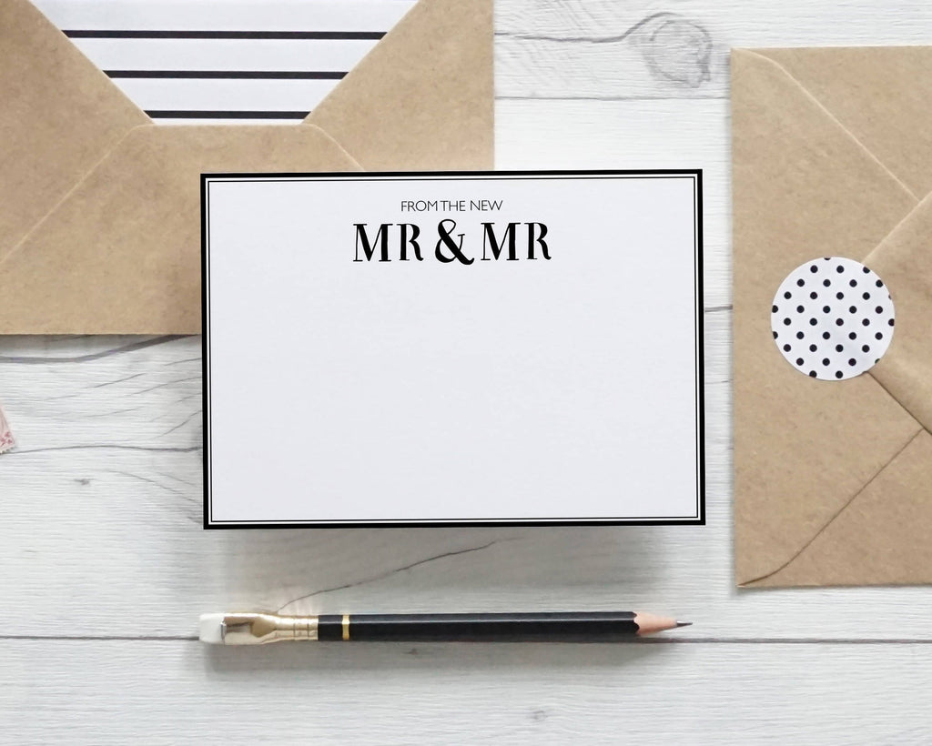 From the New Mr & Mr, hand lettered notecards