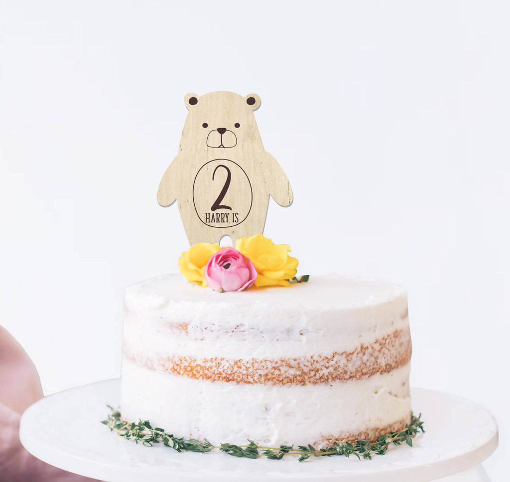 Personalised Wooden Bear birthday cake topper