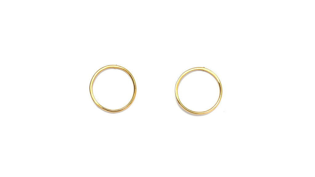 Gold Circle Stud Earrings - Design Vaults