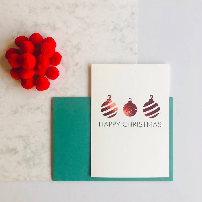 Single or Packs of Bauble Charity Foiled Christmas Cards