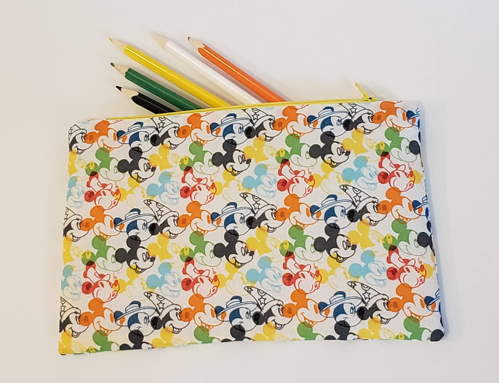 Flat Zipper Pouch / Pencil Case - Colourful Mickey