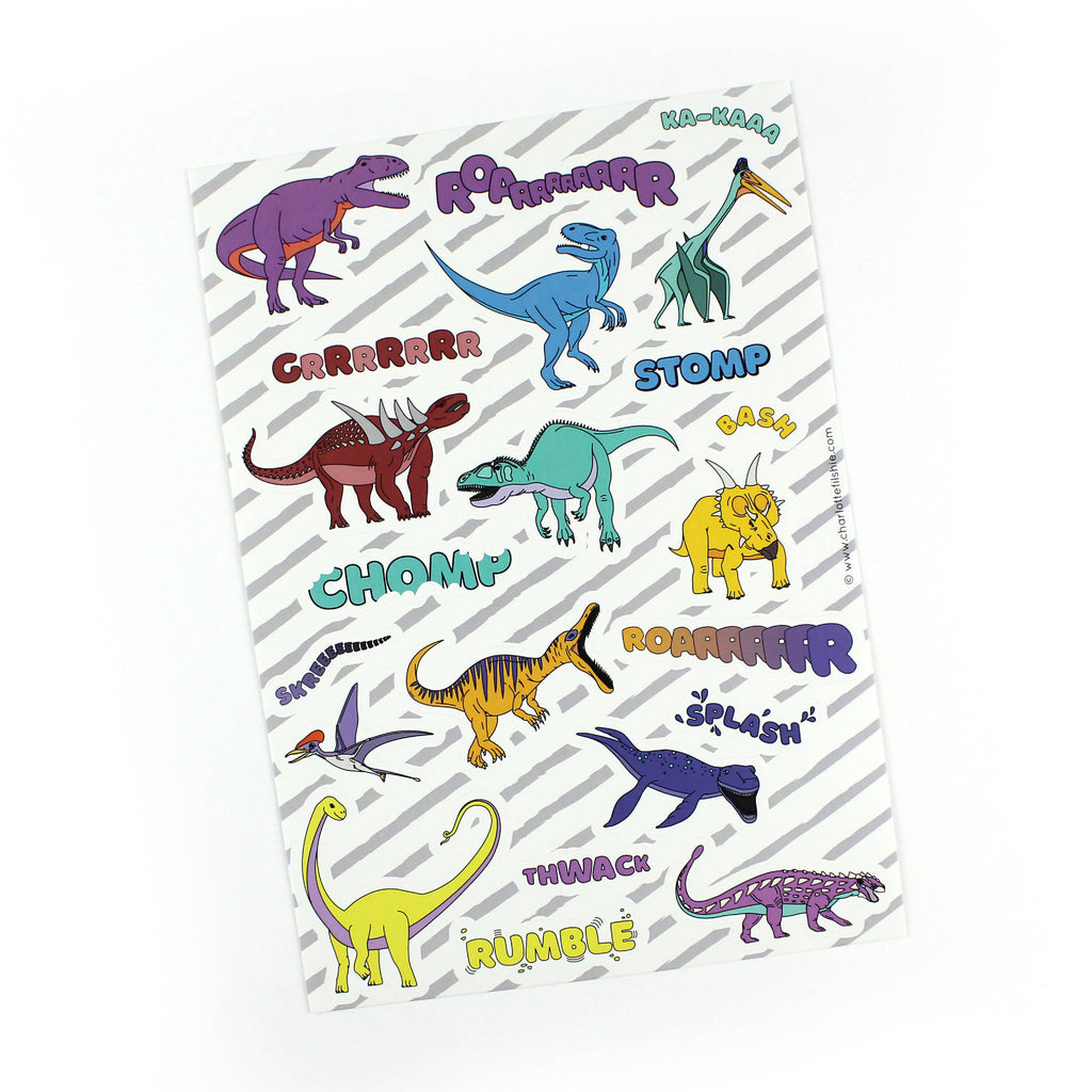 Dinosaur sticker sheet pack of 3 sheets - A5