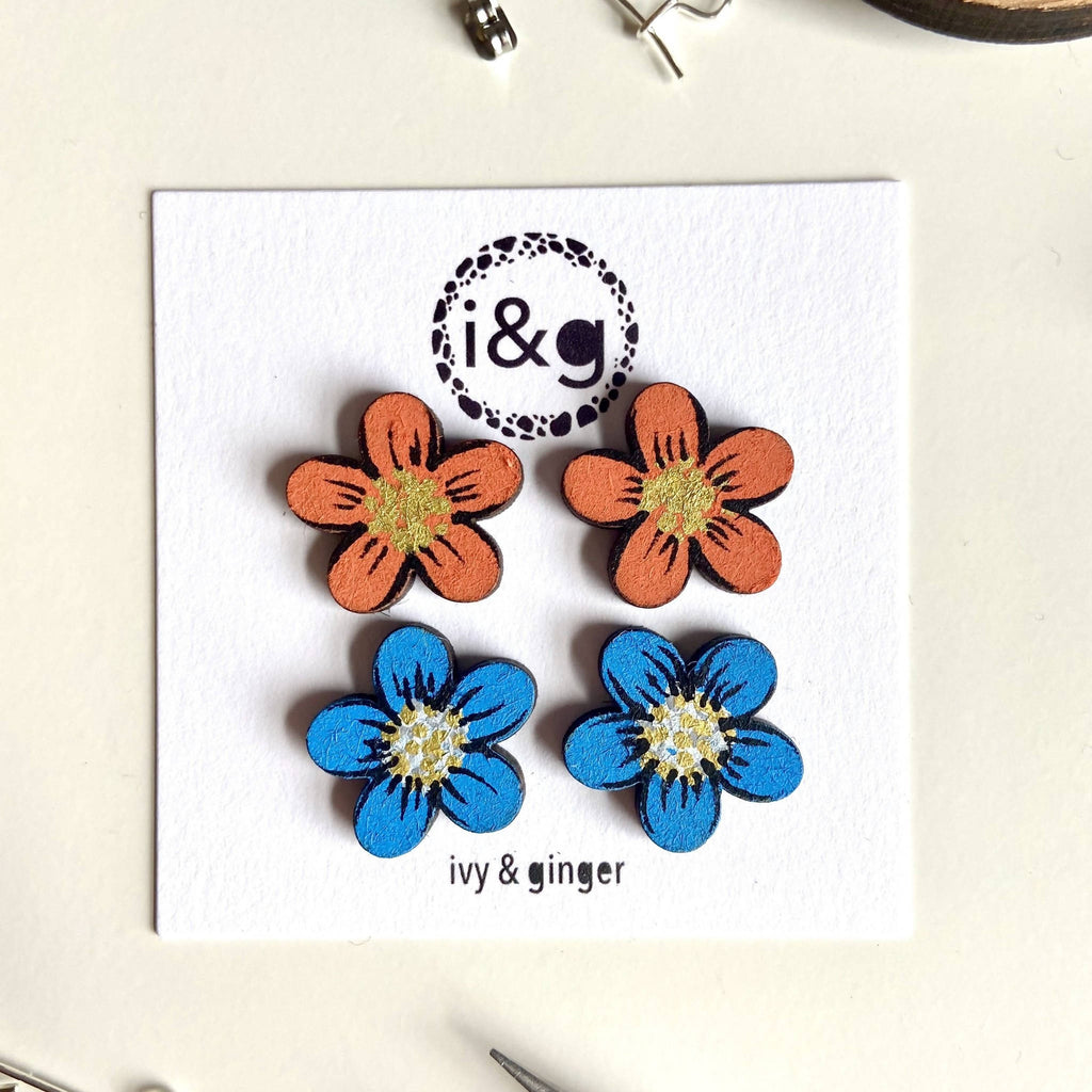 Orange and Blue Flower Studs Painted Wooden Earrings Set