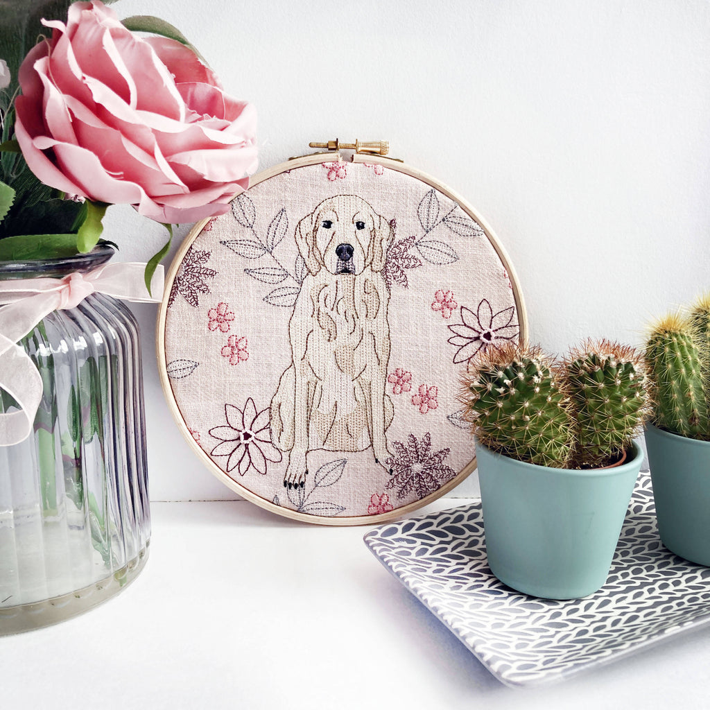 Golden Retriever Embroidery Hoop Art - Limited Edition