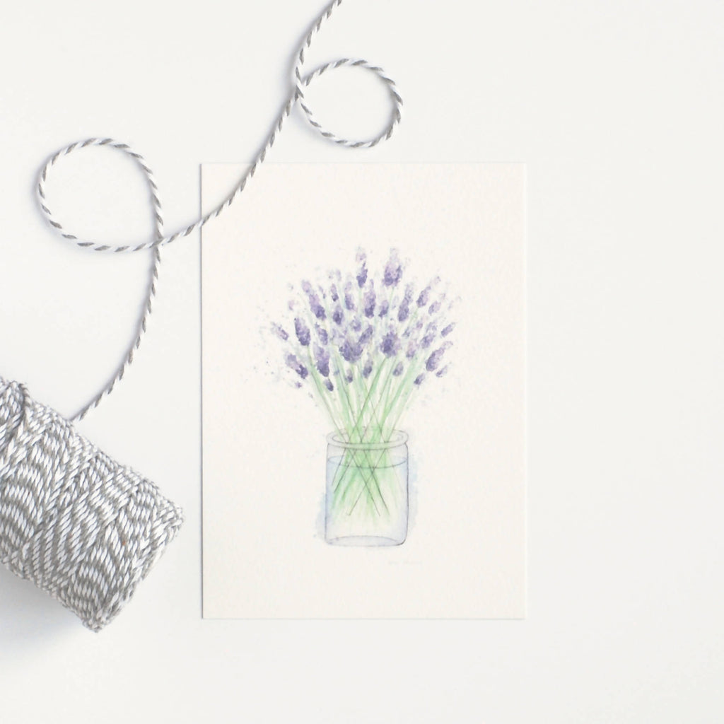 Lavender Watercolour Art Print - A6