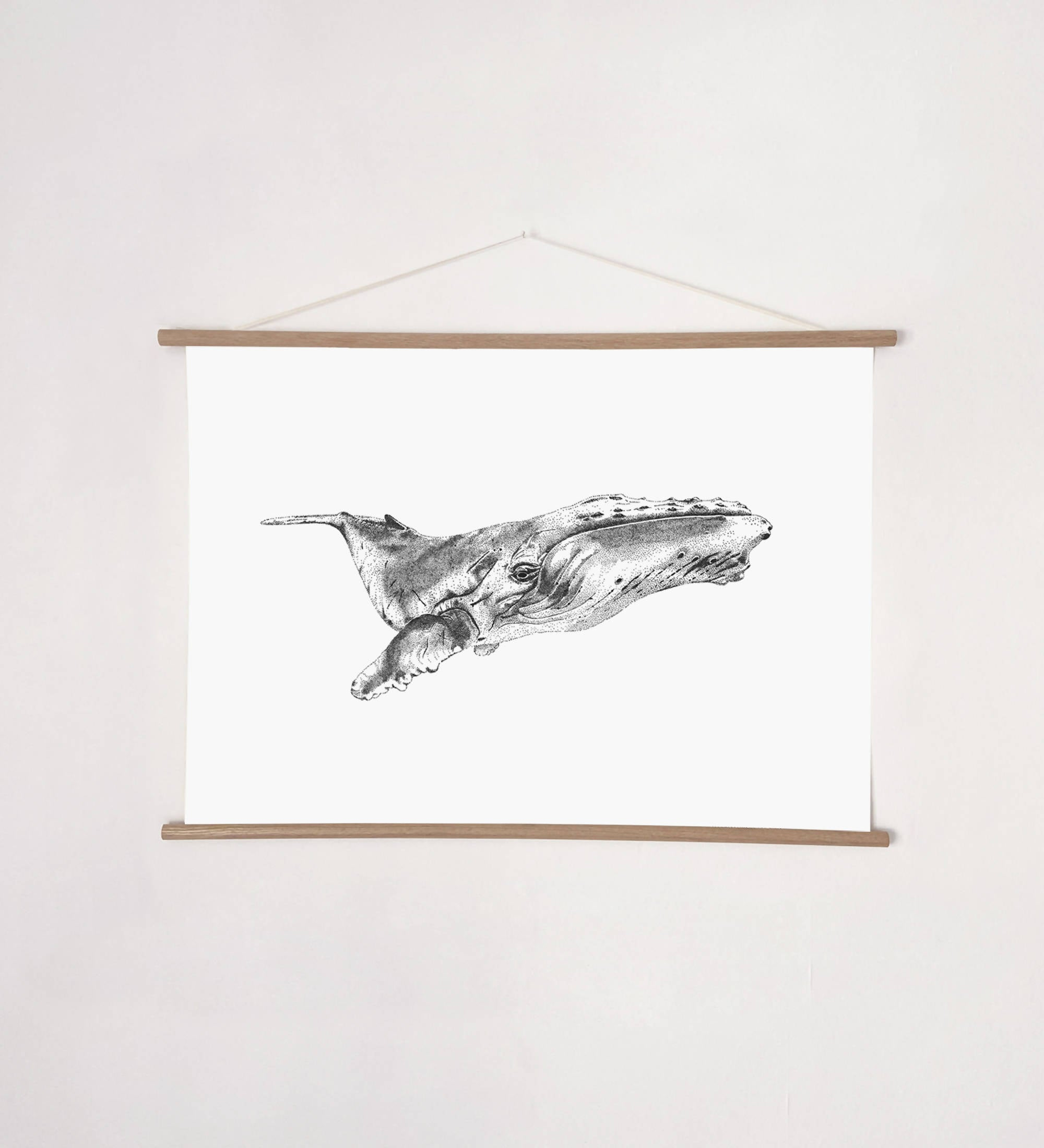 Whale Print / Kids Prints, Ocean, Black and White Illustration Print