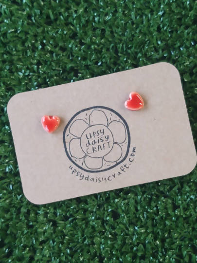Ceramic heart stud earrings - Small - Red