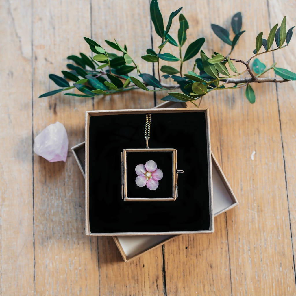 Pressed Flower Glass Locket Necklace Pendant