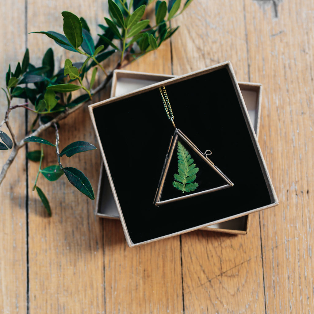 Pressed Flower Herbarium Triangle Locket Necklace