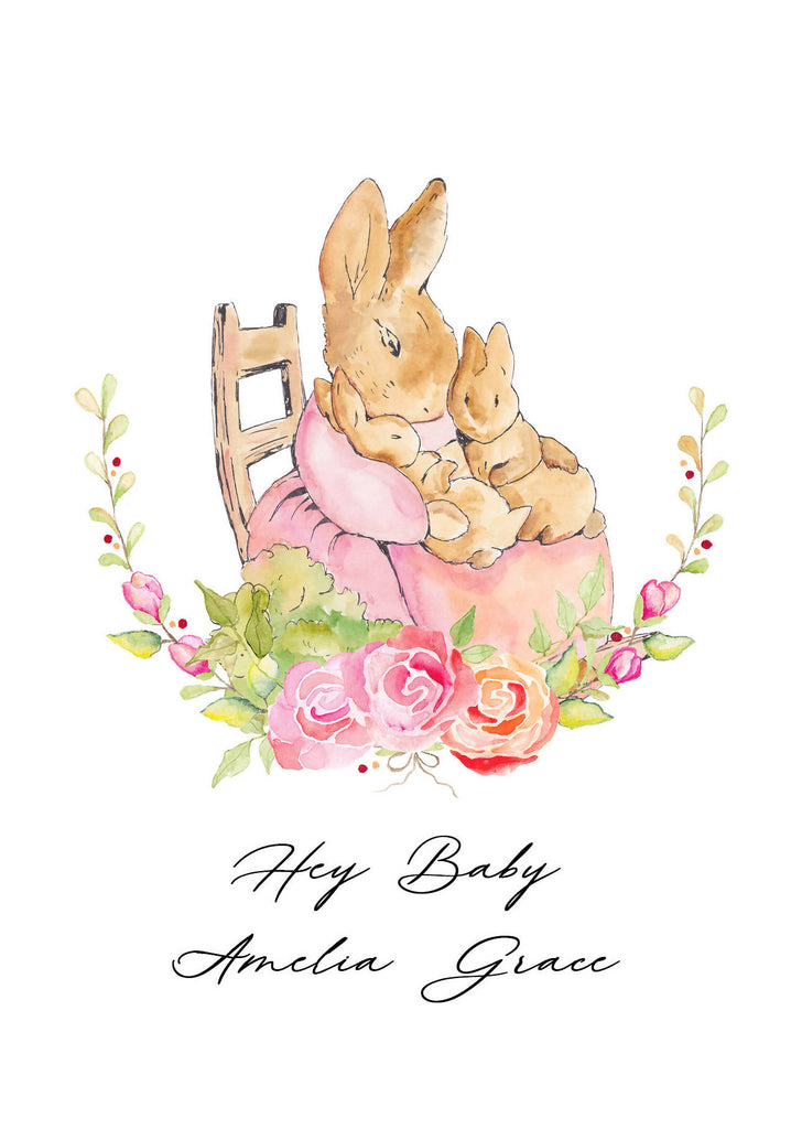 New Baby Cute Bunnies Card - Personalised - Eco-Friendly