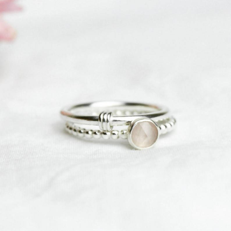 Handmade Sterling Silver Rose Quartz Ring
