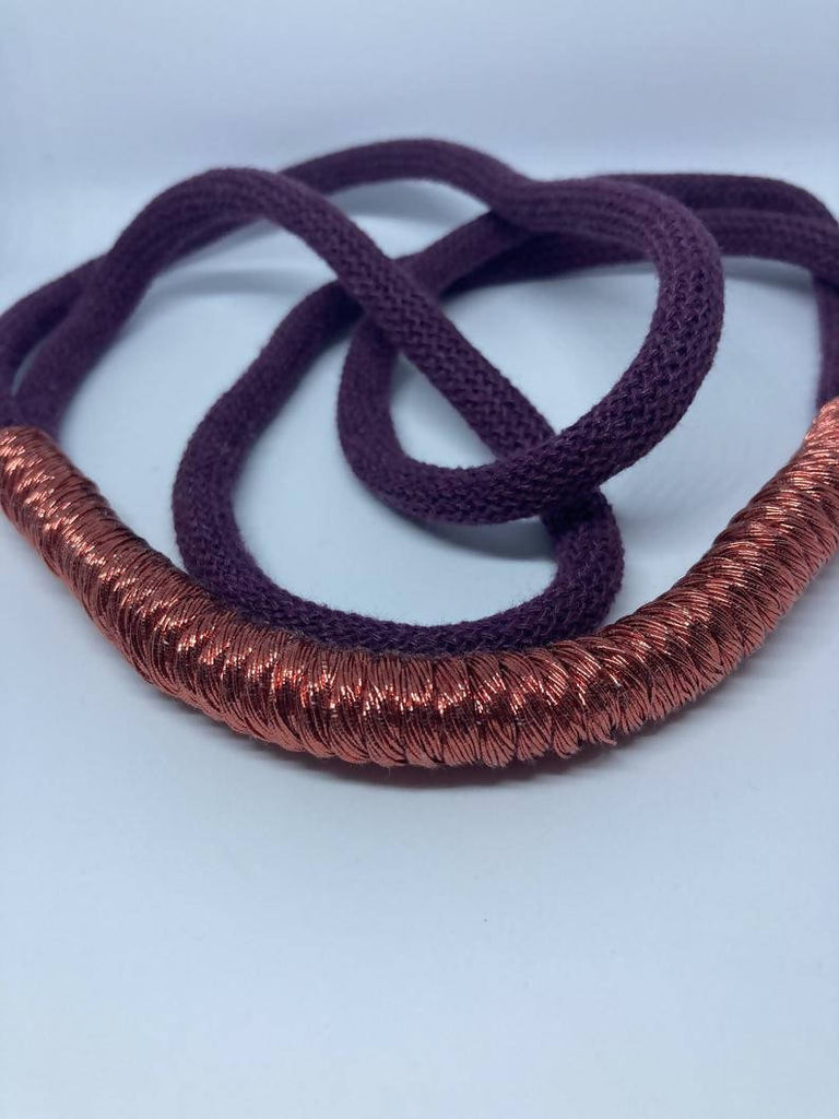 Blackberry and Copper Statement necklace