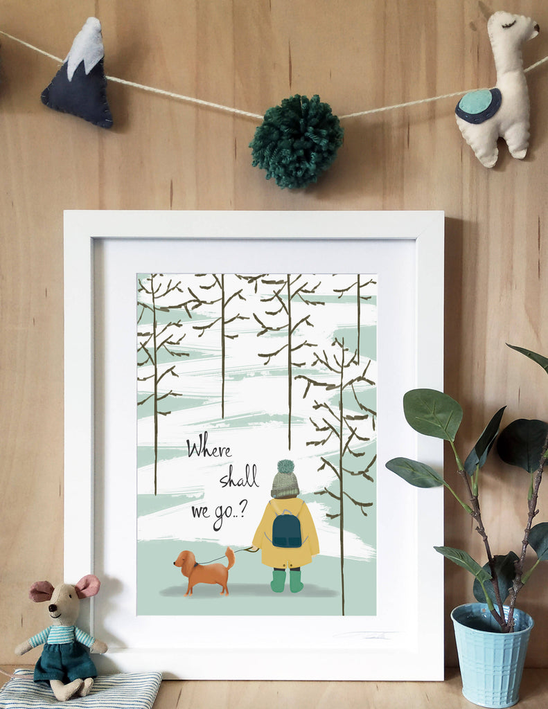 Where Shall We Go Print - Boy and Dog Print - Nursery Decor - Explorer Print - Winter Print