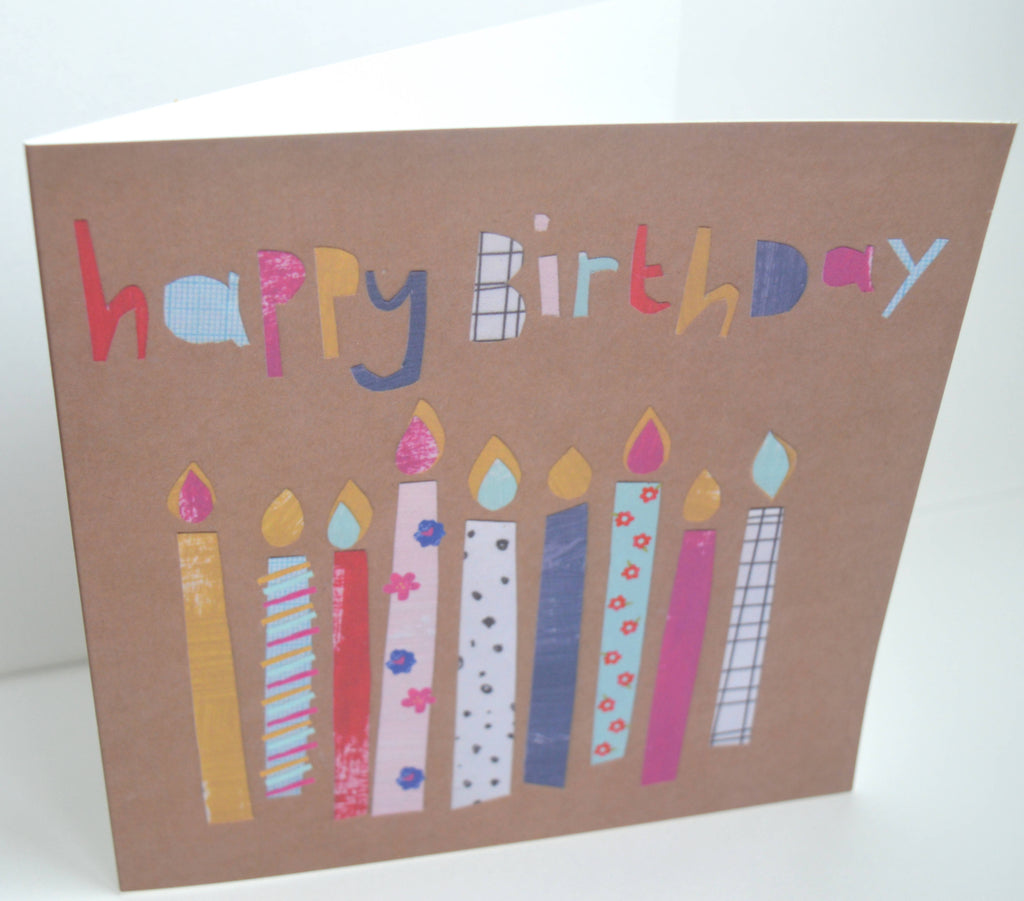Greeting card, birthday card, Happy birthday, Candle card, Square card, Collaged, Gifts for her, Dolly Pepper Studio