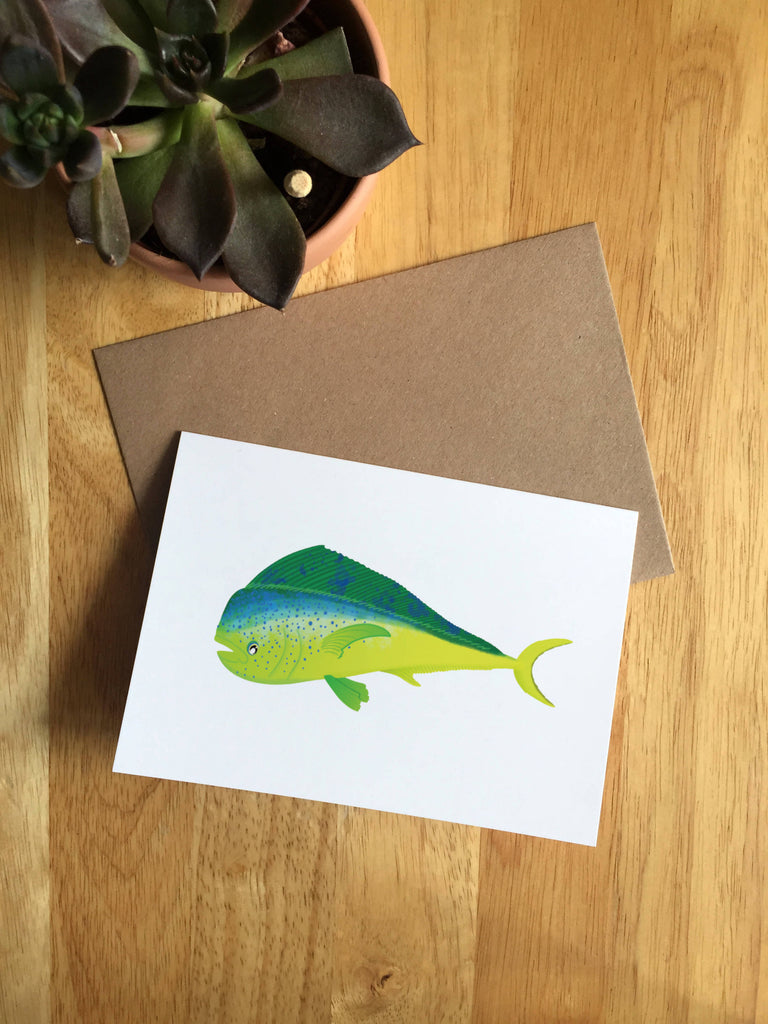 Mahi Mahi Dorado Greetings Card, A6 Illustrated fish