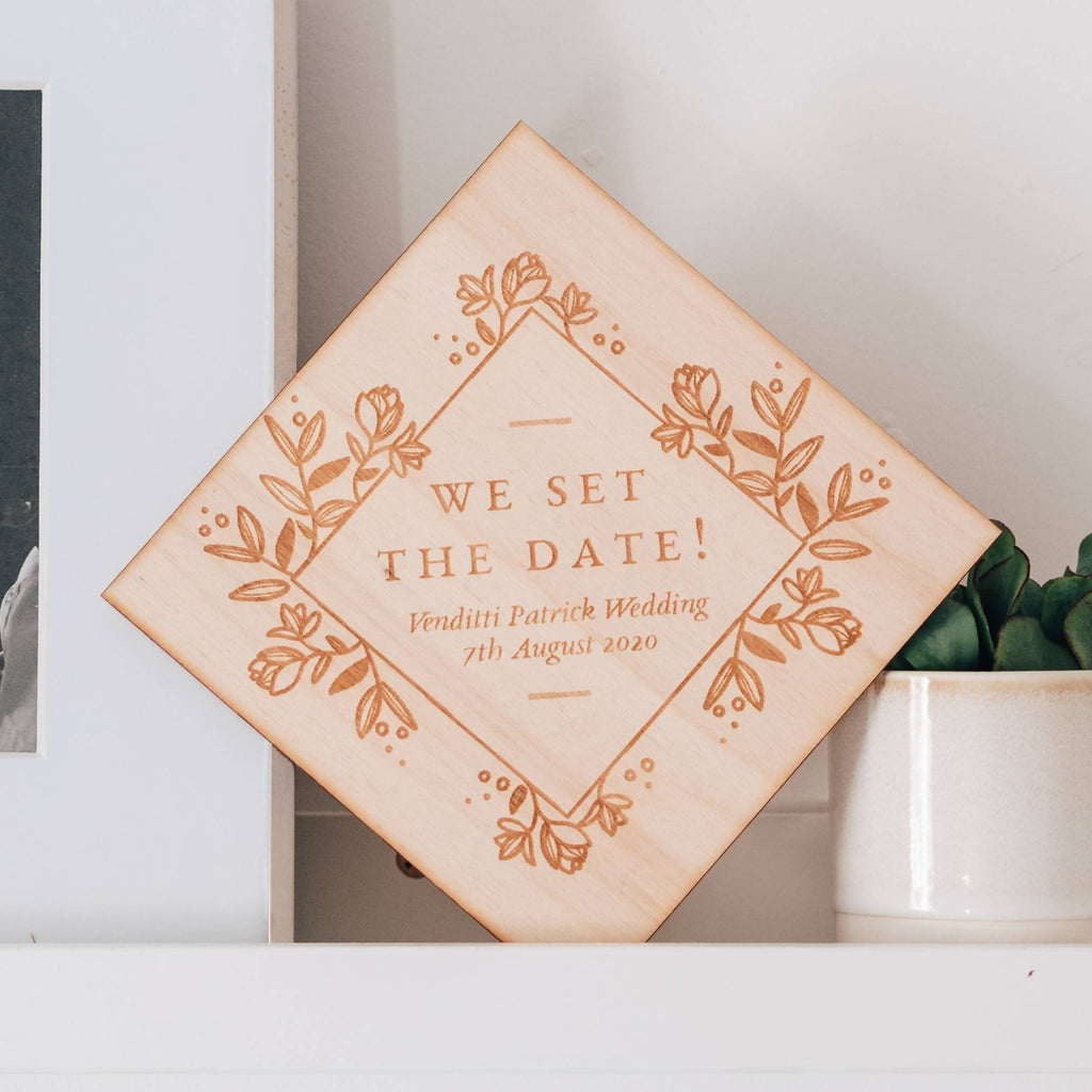 We Set the Date Wedding Announcement Wooden Keepsake Sign