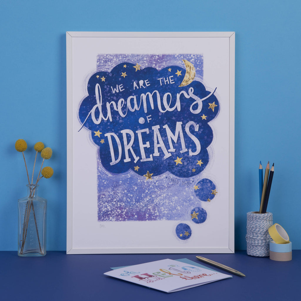 We Are the Dreamers of Dreams, Moon and Stars Wall Art Print