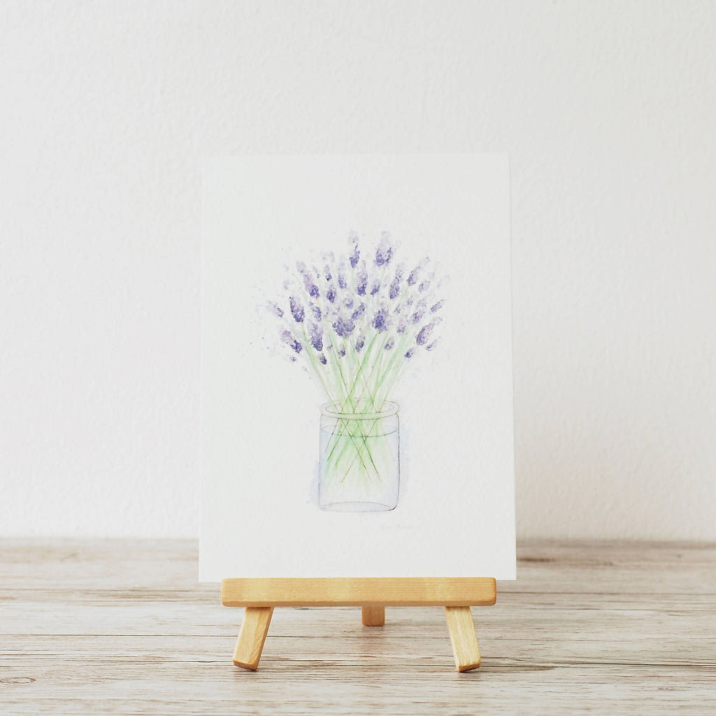 watercolour lavender A6 postcard art print by artist Kerri Awosile