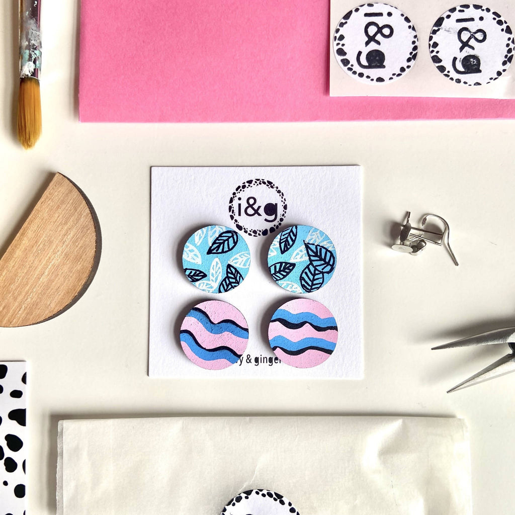 Pink and Blue Leaf Stud Painted Wooden Earrings Set