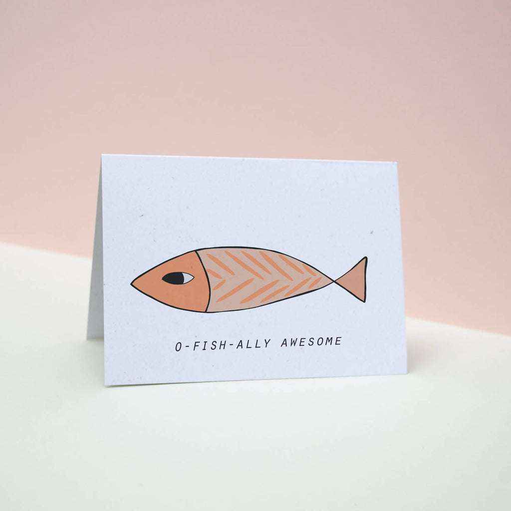 Offically awesome // fish pun // Father's Day greetings card // dads day// fish card// pun card // Valentine's Day