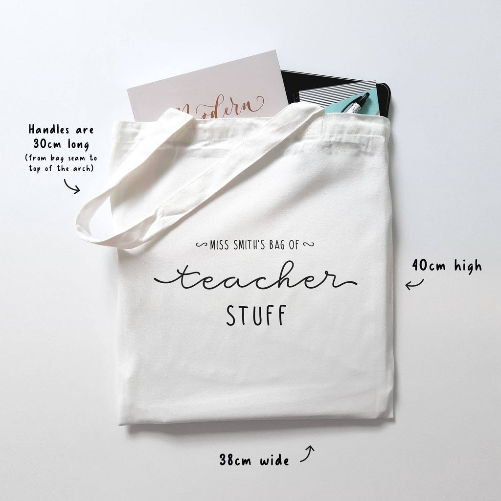 Personalised Teacher Stuff Cotton Tote Bag