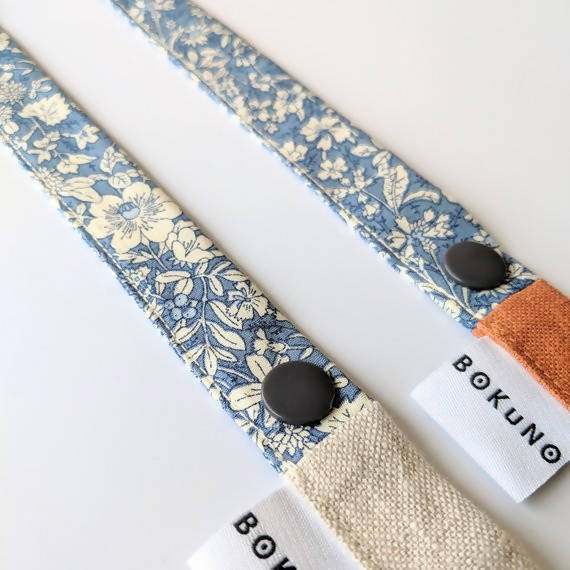 Floral and linen toy strap
