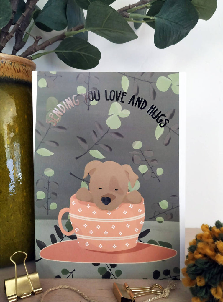 Love And Hugs Dog Card - Isolation Card - Missing You - Quarantine Card