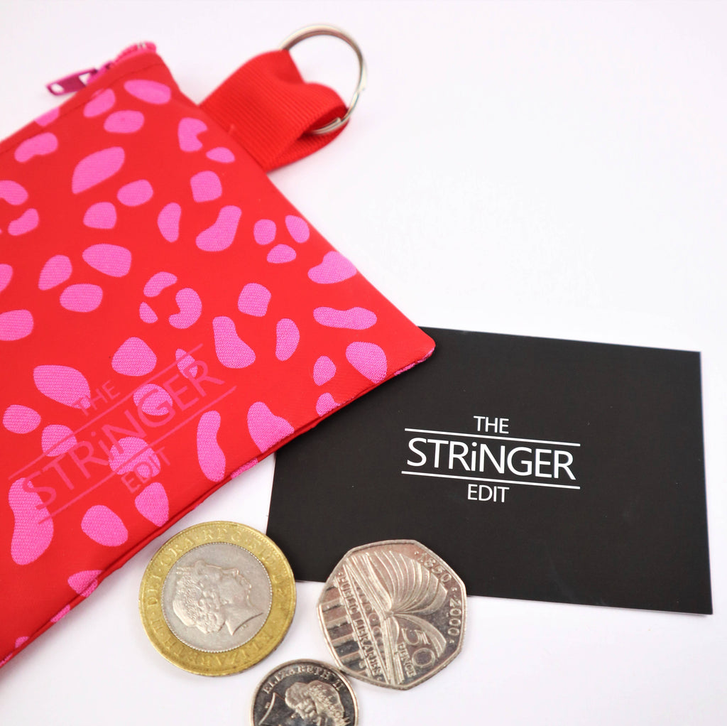 Red and Pink Small Dalmatian Print Coin Purse