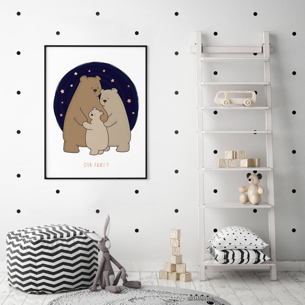 Personalised Foiled Bear Family Woodland Print