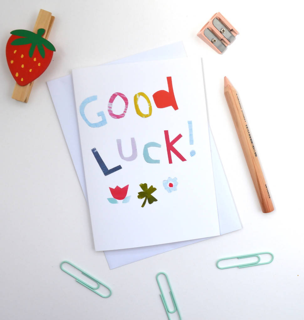 Good luck collage greeting card with four leaf clover