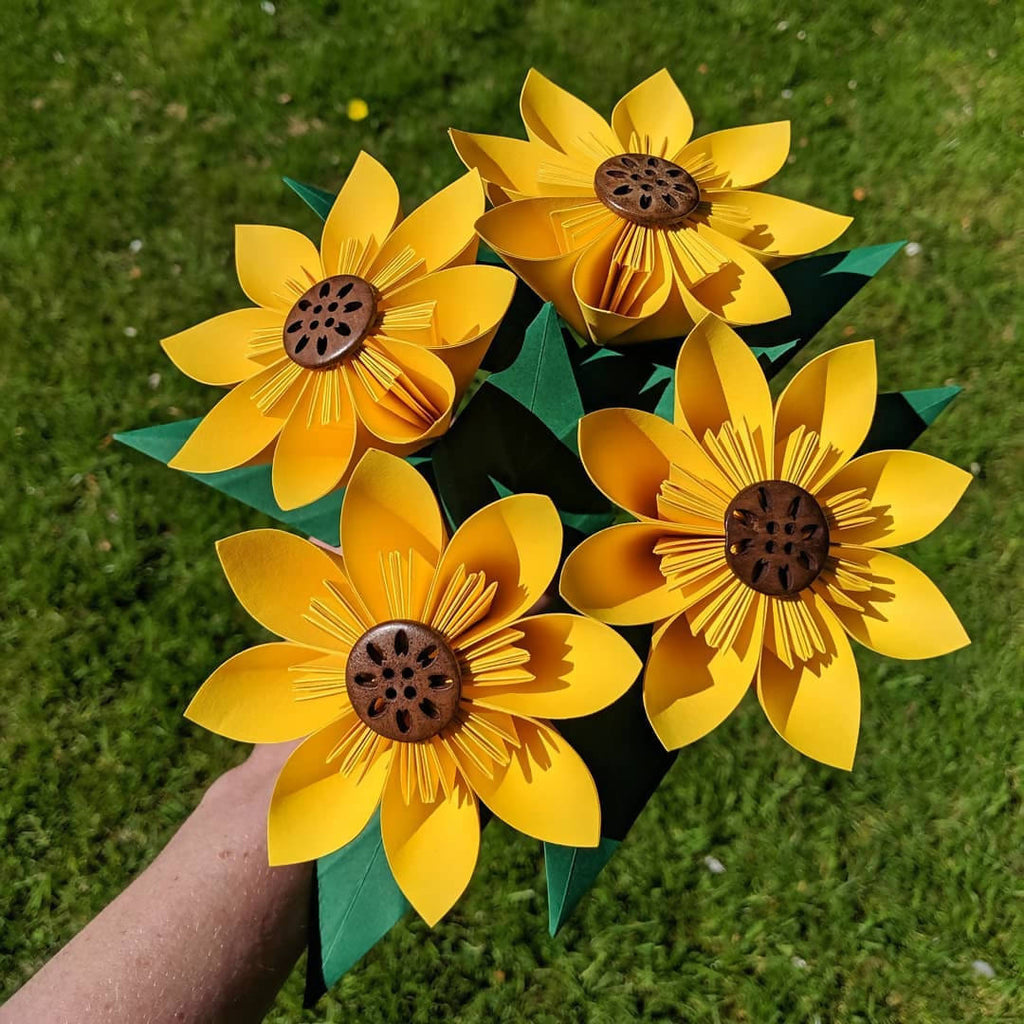 Bouquet of four origami sunflowers