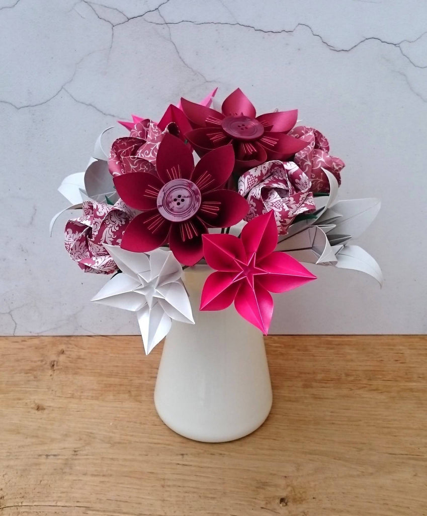 Burgundy origami paper flower bouquet