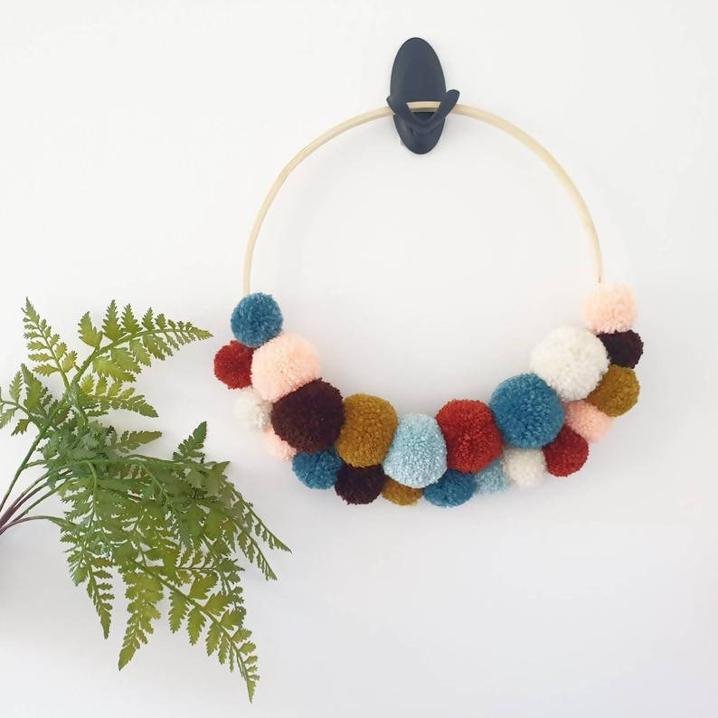 Double layer pom pom hanging hoop