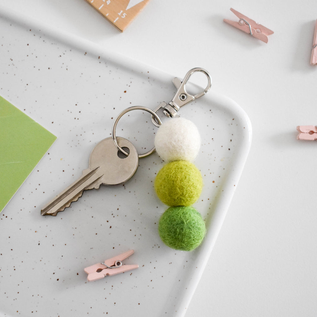 Custom Colour Felt Ball Keyring