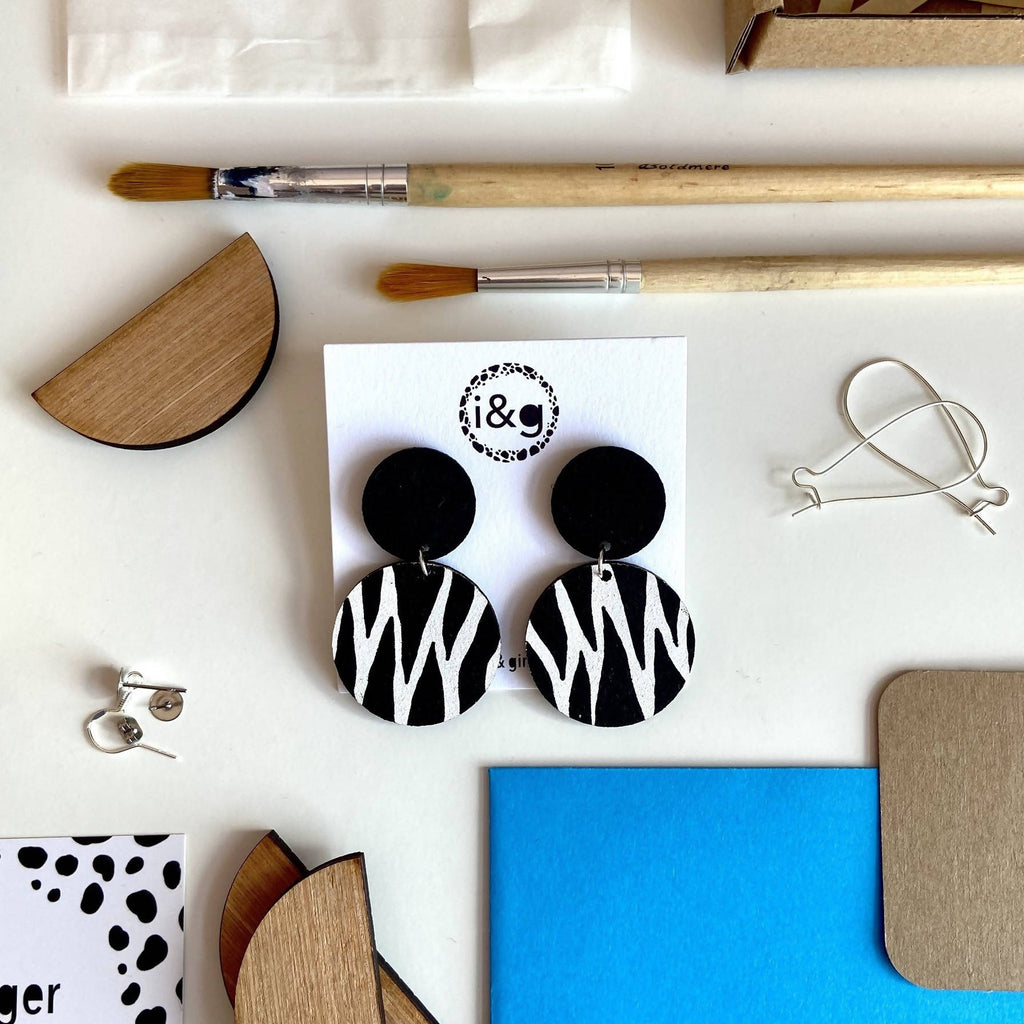 The Zebra Wooden Drop Earrings Studs