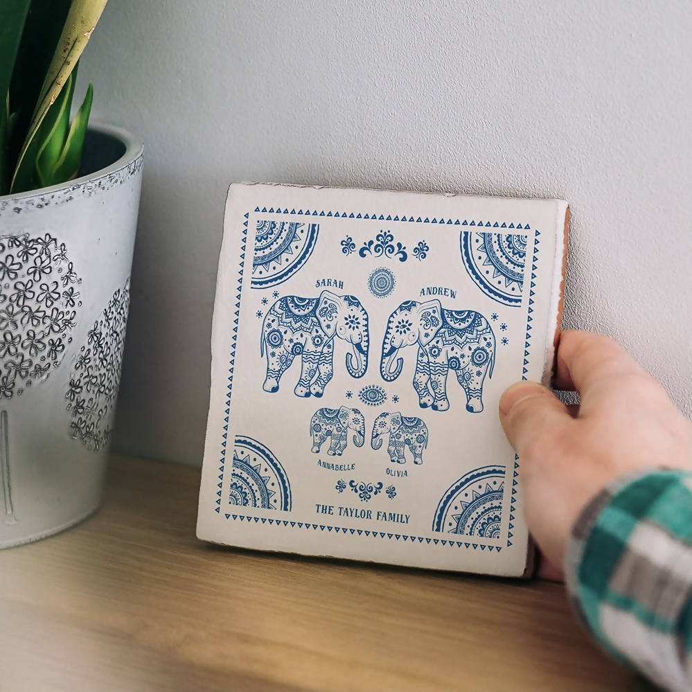 Personalised Elephant Family Tile With Names