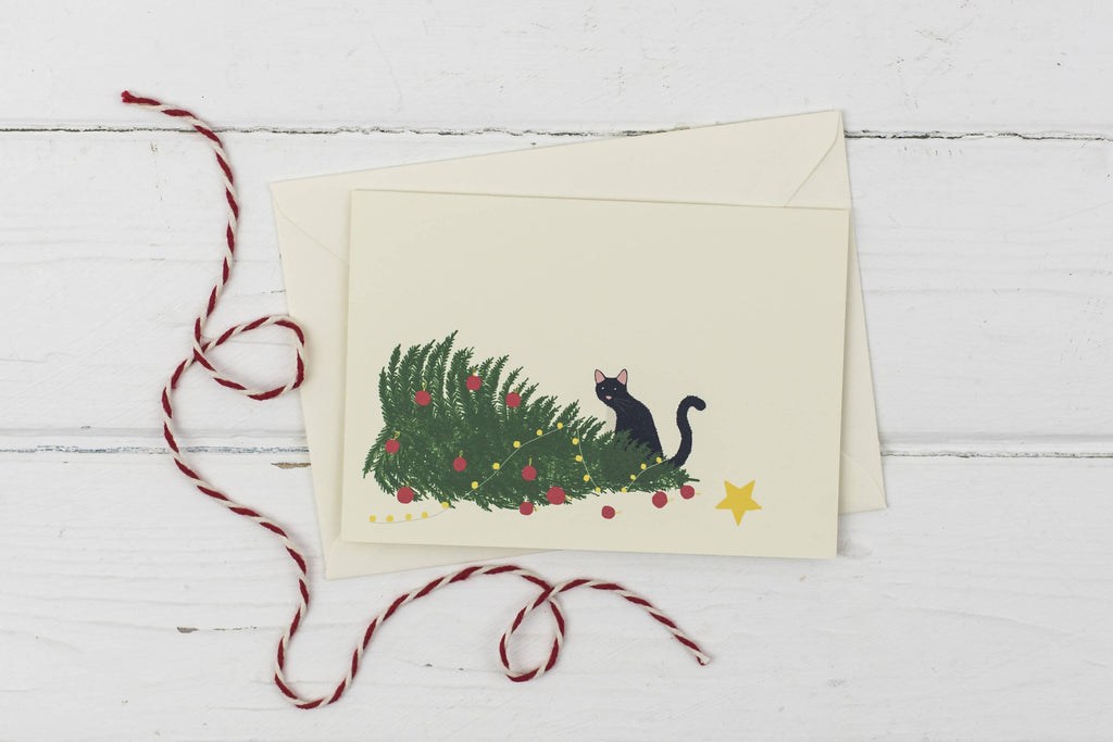 Naughty black cat with knocked over Christmas tree- Christmas card