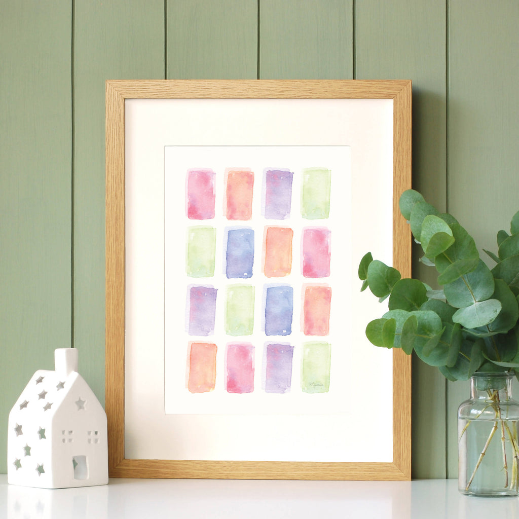 Colourful life rainbow watercolour rectangles painting art print by Kerri Awosile