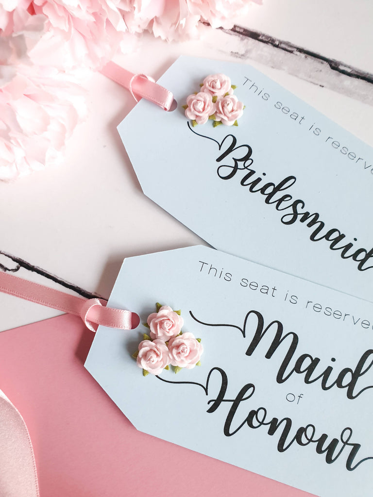 Wedding Reserved Seat Tags in Pale Blue and Pastel Pink. Rose Detail.