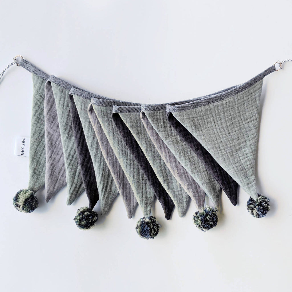 Double gauze bunting, fabric bunting pompom garland - mint and grey